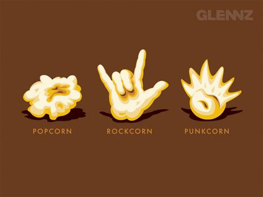 Popcorn, Rockcorn, Punkcorn T-Shirt design