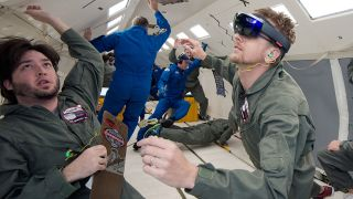 NASA astronauts and HoloLens