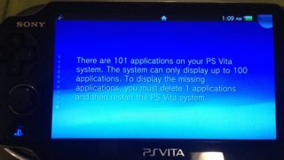 PS Vita app limit error message