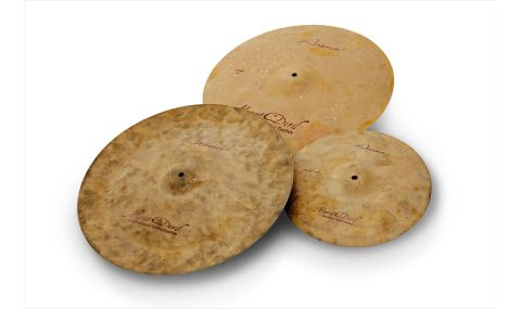 Arena cymbals are distinguished by their sandblasted tops and a matt, chalky sand colour
