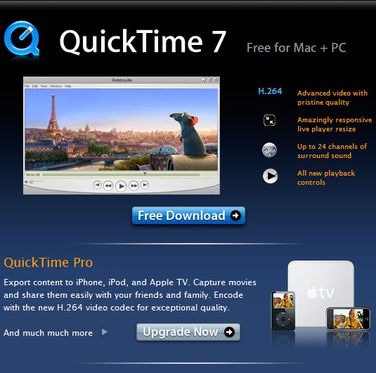 download apple quicktime player for windows 7 Free Downloads