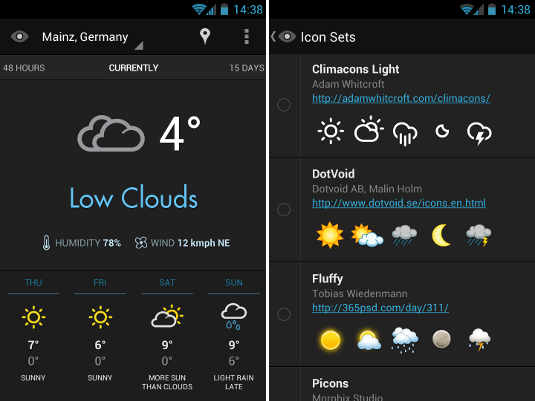 Weather Eye Android screen design