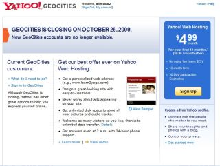 GeoCities closing this month