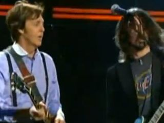 Macca and Grohl mix it up on stage at the Grammys