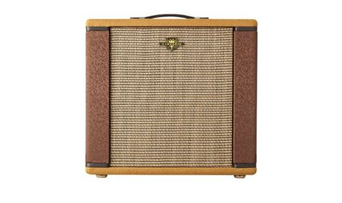 The amp is covered with a two-tone blend of antique gold and chocolate brown patterned upholstery cloth
