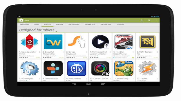 Google Play Store to optimize layout of Android apps for tablets