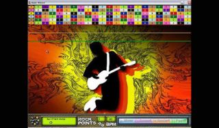 The Guitar Wizard software interface uses a colour-coded symbol system to represent fingering positions