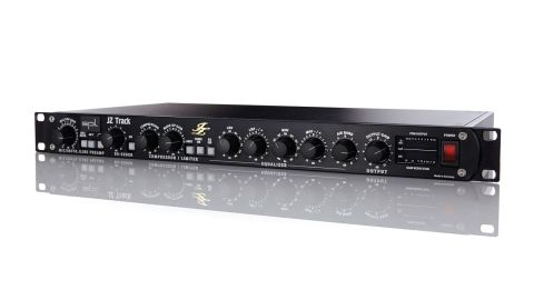 The JZ Track provides mic (XLR) and instrument/line (1/4-inch jack inputs) feeding a de-esser, compressor/limiter and a three-band EQ