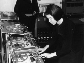 Delia Derbyshire working her magic at the BBC