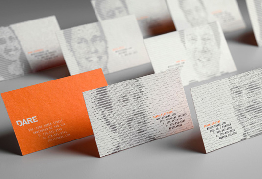 Letterpress business cards: Dare