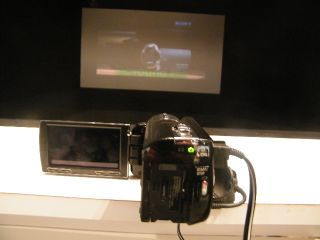 Sony's projector camcorder: movie showing straight out of the box