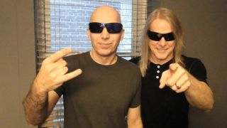 Joe Satriani and Steve Morse, photographed backstage at the Tower Theater, Upper Darby, PA, Sept. 28, 2013