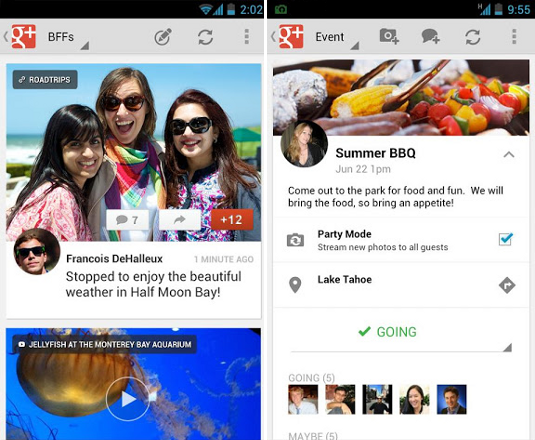 Google+ Android screen design