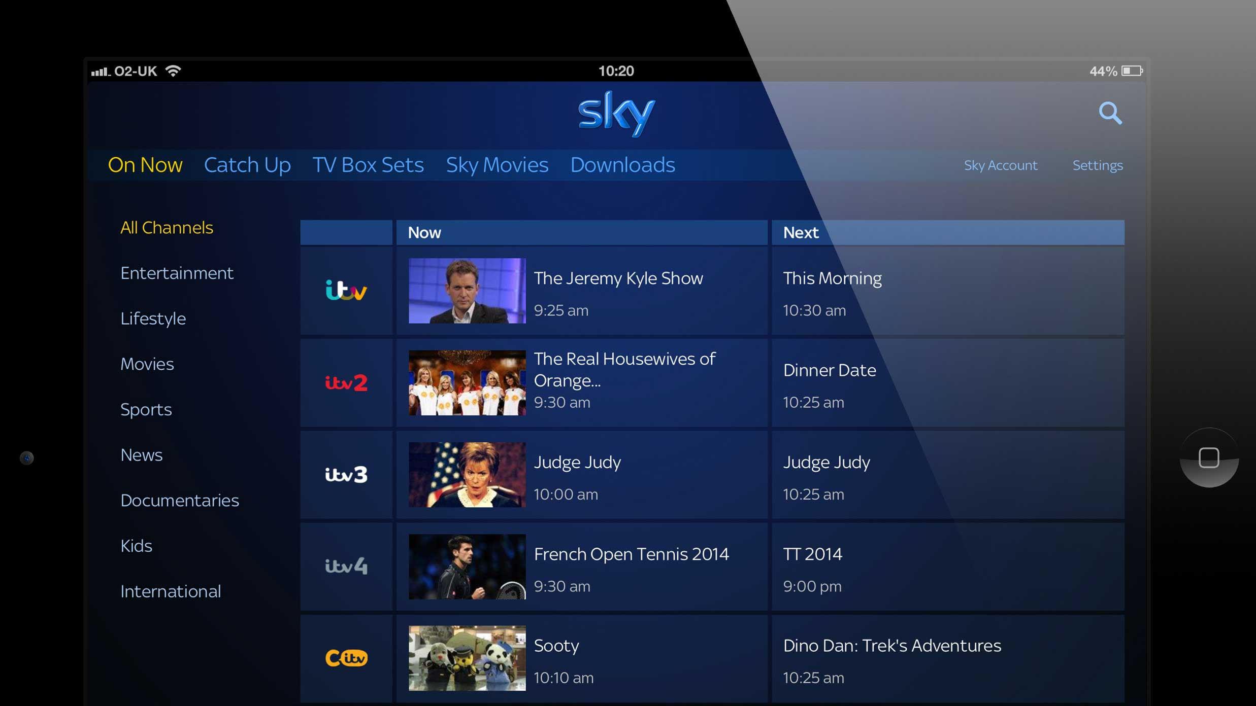 ITV channels arrive on Sky Go in time to stream the World