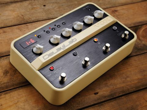 The Vox DelayLab enables you to set 10 delay types, via the top left-hand rotary switch.