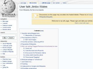 Jimmy Wales talk page on Wikipedia