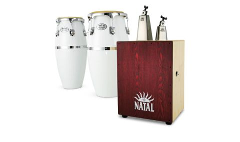 Our congas (left) were finished in pure white, though there's also a Special Edition 'Hand Splattered' paint finish
