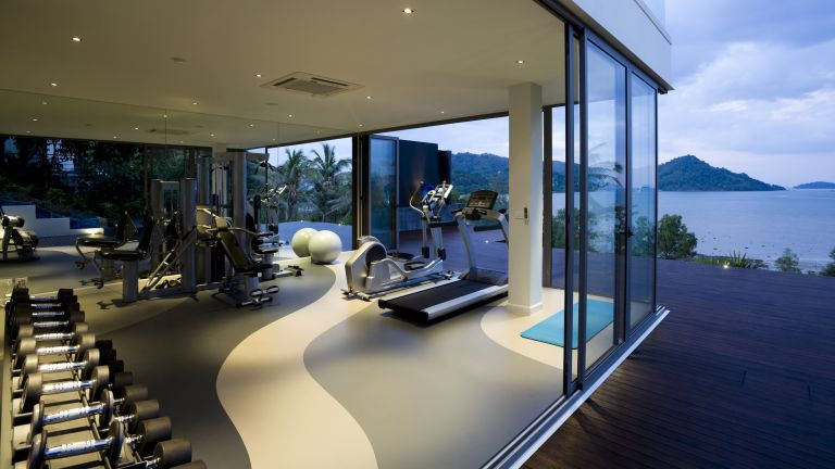 Home gym in a luxury villa