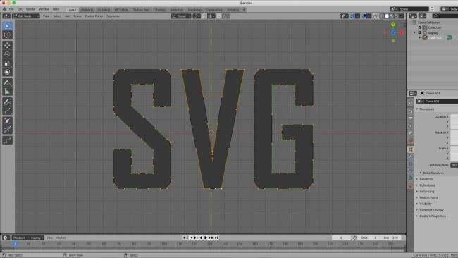 SVG graphic imported into Blender