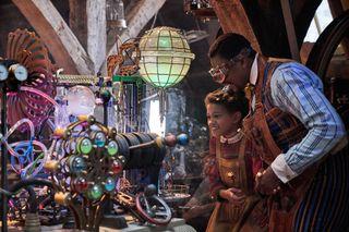 Diaana Babnicova as Young Jessica Jangle and Justin Cornwell as Young Jeronicus Jangle.