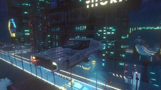 A slick hovercar drives through a cyberpunk sky