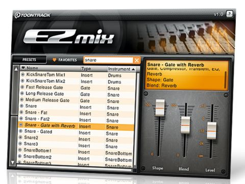 In EZmix, single presets take the place of effects chains.
