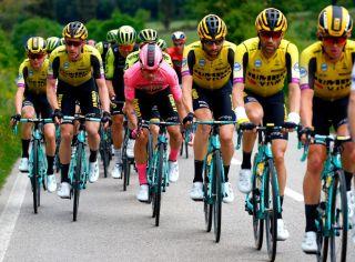 Primoz Roglic in the 2019 Giro d'Italia pink jersey
