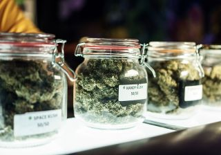 Jars of marijuana at a dispensary.