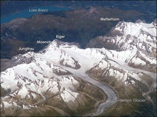 This astronaut photograph, taken on Sept. 5, 2006, shows an oblique view of the Bernese Alps in southern Switerland.