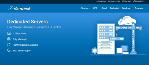 Hostwinds' homepage
