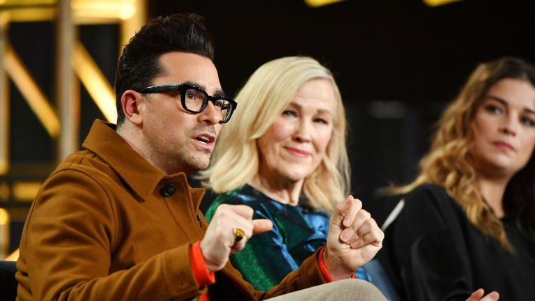 "Schitt's Creek, Daniel Levy, Catherine O'Hara and Annie Murphy of ""Schitt's Creek"" speak during the Pop TV segment of the 2020 Winter TCA Press Tour at The Langham Huntington, Pasadena on January 13, 2020"