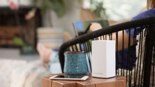 Linksys Velop Dual-Band Mesh Wi-Fi Router On A Table