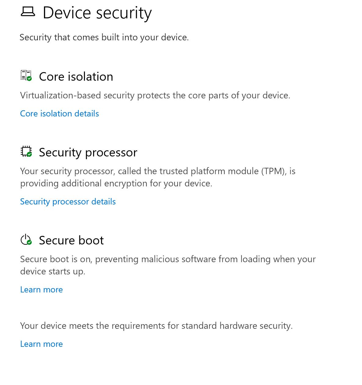 Výsledok vyhľadávania TPM v systéme Windows 10