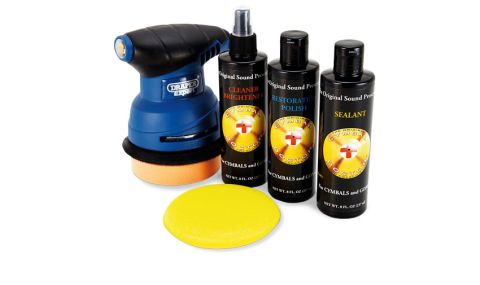 The kit includes a rugged electric polishing tool and pads
