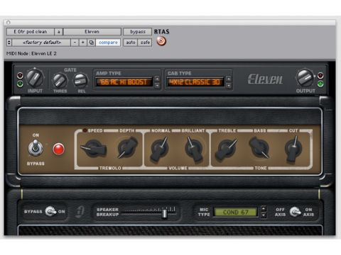 Eleven's interface mimics that of a hardware amp.