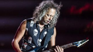 Kirk Hammett onstage with Metallica at the 2015 Reading festival