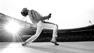 Queen's Freddie Mercury at Live Aid in 1985