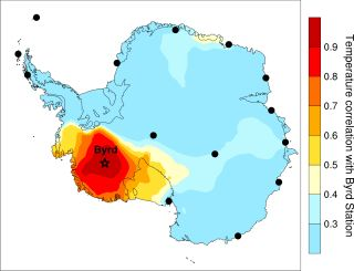 Map of Antarctica and annual spatial footprint of the Byrd temperature record.