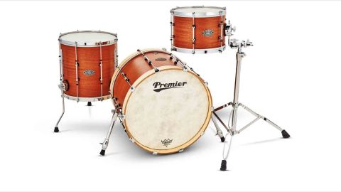 The Bebop 20 gets a mahogany finish, with contrasting birdseye maple hoops on the bass drum