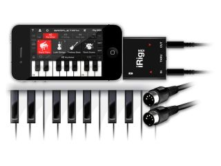 The iRig MIDI interface and SampleTank for iOS.