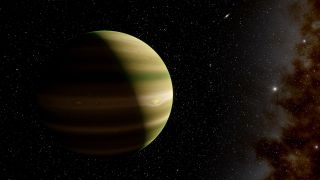 Illustration of a gas giant like Jupiter.