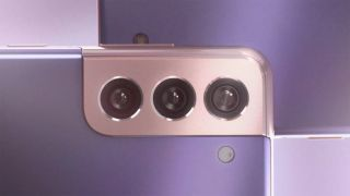 Rear camera and back of Galaxy S21 Plus in Phantom Violet