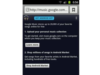 Google Music Store pops up in Android