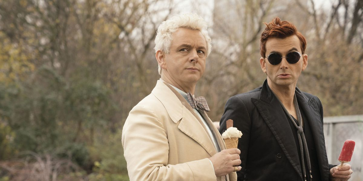 Crowley and Aziraphale on Good Omens on Amazon Prime.