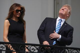 President Trump Stares at Eclipse