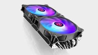 Raijintek Morpheus GPU air cooler with dual RGB fans installed