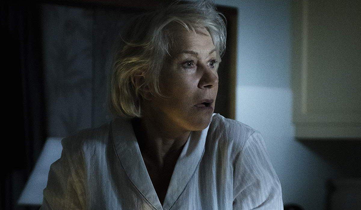 The Good Liar Helen Mirren startled in her dark kitchen
