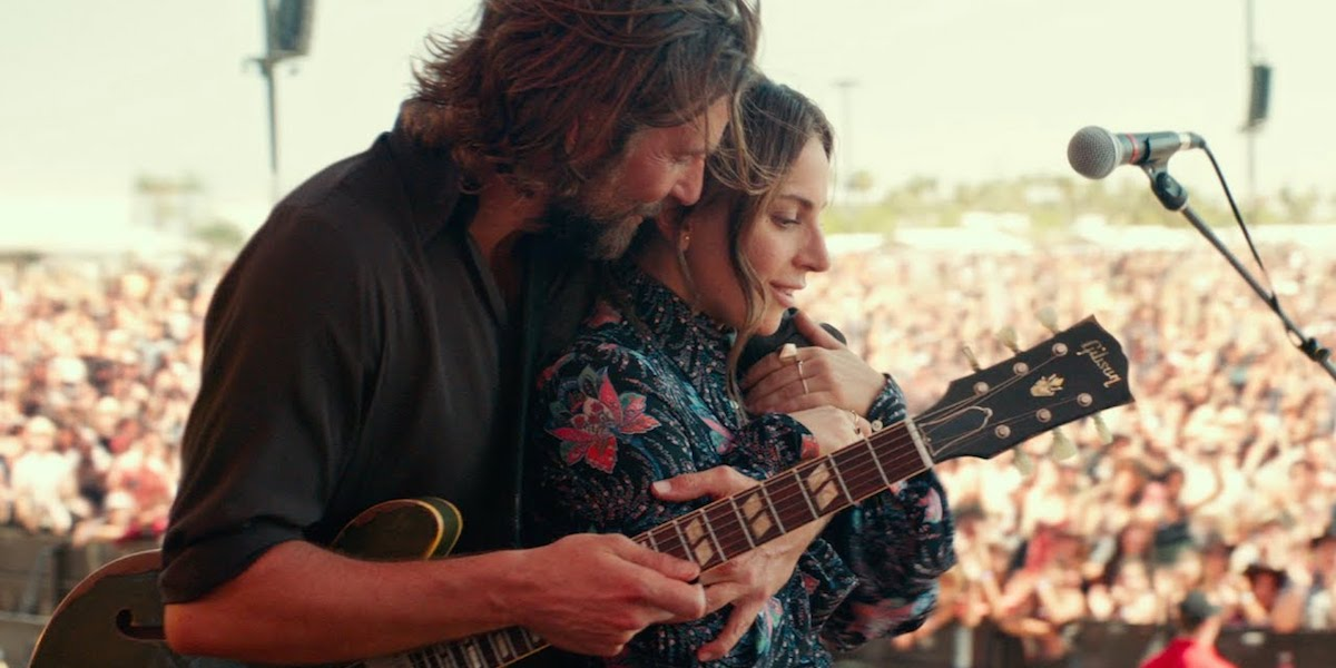 Bradley Cooper and Lady Gaga on stage as Jackson and Ally in Star is Born
