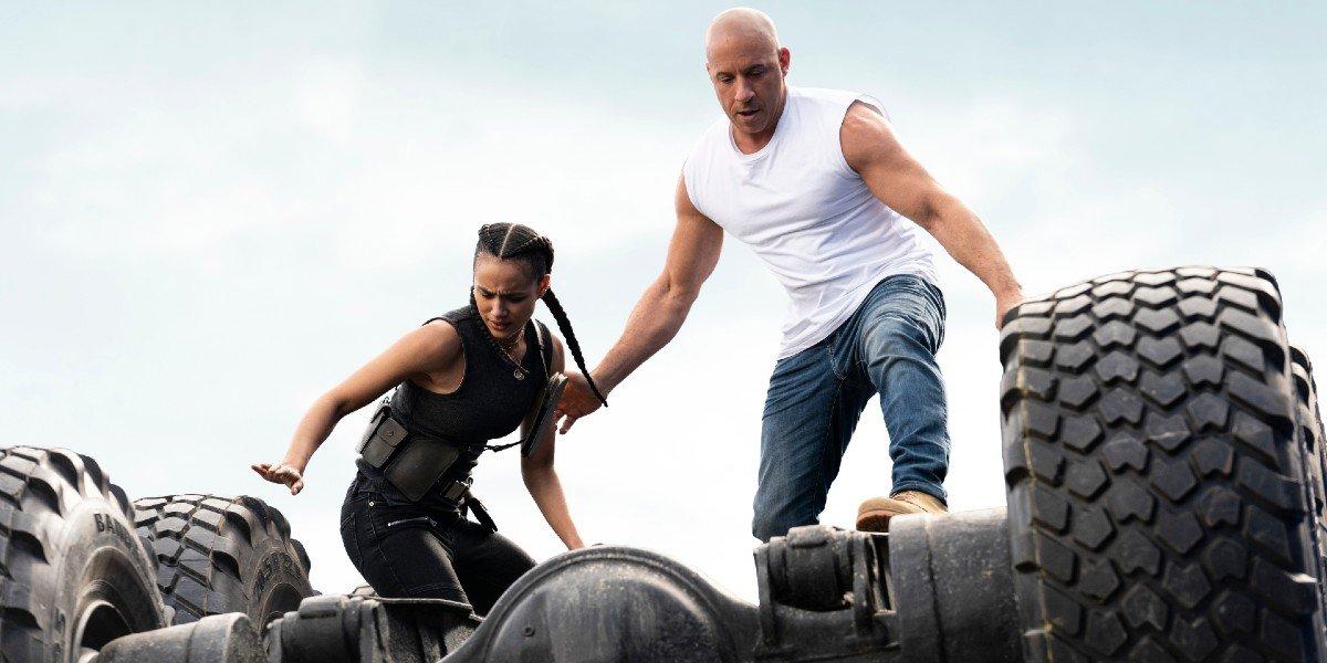 Ramsey (Nathalie Emmanuel) Dominic Toretto (Vin Diesel) find their footing in F9 (2021)