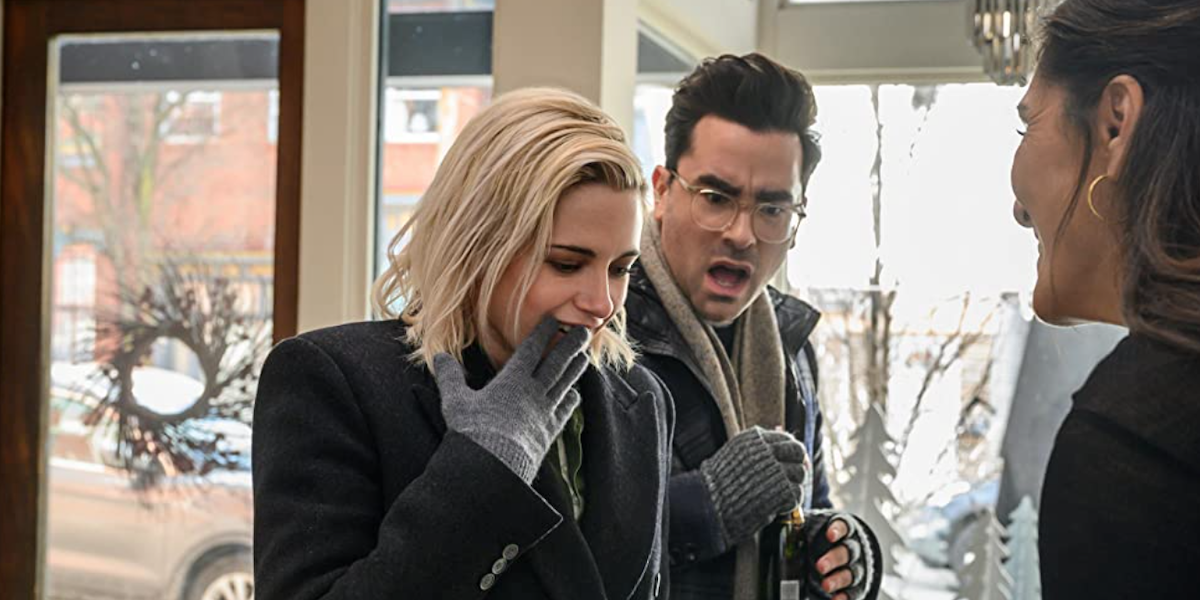 Kristen Stewart and Dan Levy in Happiest Season